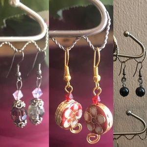 3 Sets Earrings, Dark Blue, Pink/Purple & Red/Gold